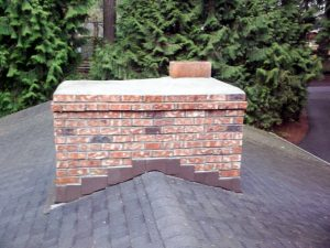 Chimney constructed with bricks.
