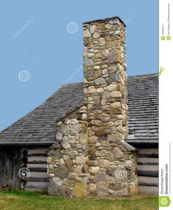 Chimney constructed with real stones.